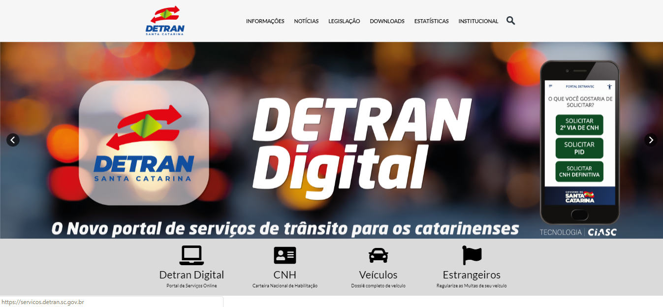 Consulta online DETRAN SC 2020